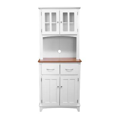 Traditional Microwave Cabinet - White/Cherry - Home Source Industries