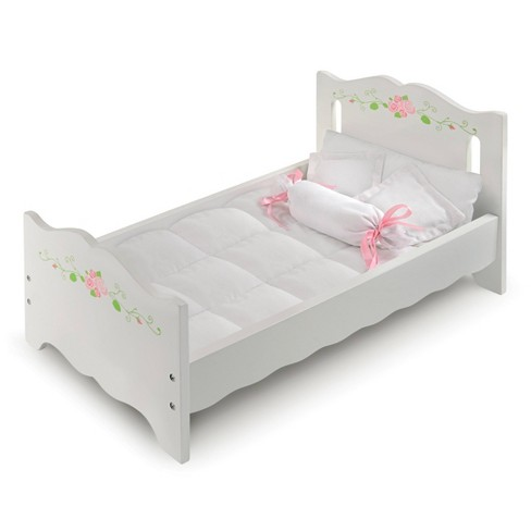 Badger Basket Doll Bed with Bedding and Free Personalization Kit - White Rose - image 1 of 4