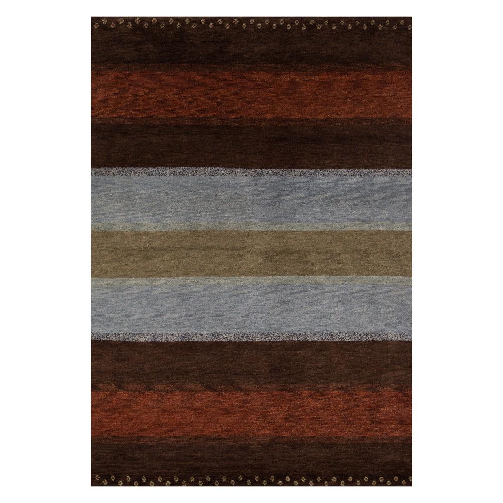 2'X3' Stripe Knotted Accent Rug - Momeni, Multi-Colored
