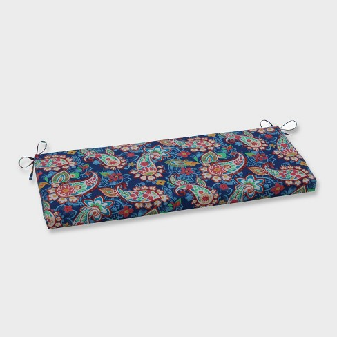 Paisley Party Outdoor Bench Cushion Blue - Pillow Perfect - image 1 of 1