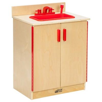 ECR4Kids Birch Play Sink   Kids Pretend Kitchen Furniture   Interactive Toy