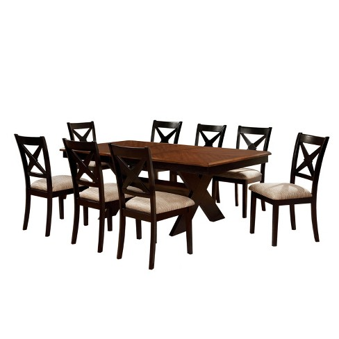 9 Piece X Crossed Base Dining Table Set Wood Dark Oak And Black