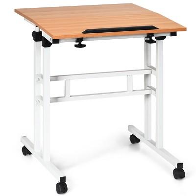 Costway Mobile Standing Desk Height Adjustable Sit Stand Workstation Stand Up Desk 2in1