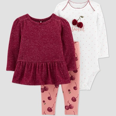 Baby Girls' Cherries Top & Bottom Set - Just One You® made by carter's Pink 3M