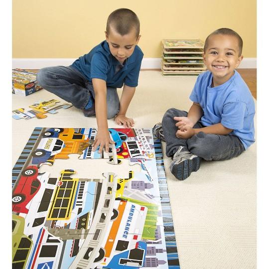Melissa And Doug Traffic Jam Jumbo Floor Puzzle 24pc image number null