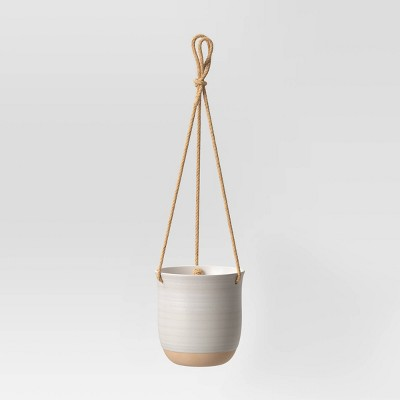 6  Stoneware Hanging Planter White/Tan - Smith & Hawken™