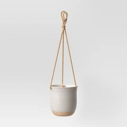 Stoneware Matte Speckle Glaze With Exposed Clay Planter White - Smith & Hawken™