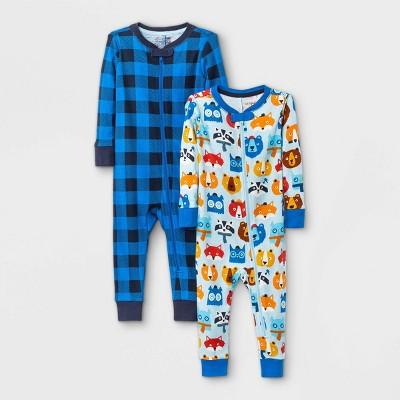 Baby Boys' 2pk Animal Print Plaid Snug Fit Pajama Romper - Cat & Jack™ Blue