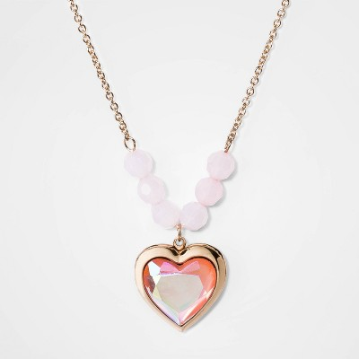Girls' Heart Locket Beaded Necklace - Cat & Jack™