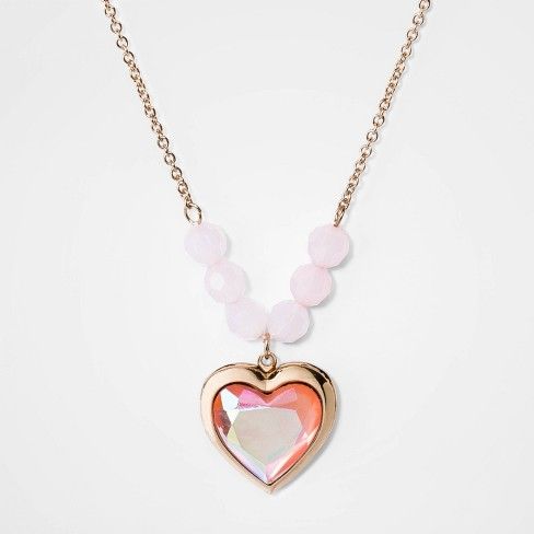 Girls' Heart Locket Beaded Necklace - Cat & Jack™ - image 1 of 3