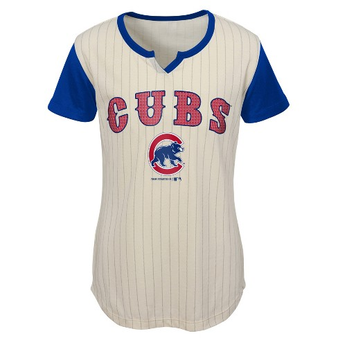 bba8420e Chicago Cubs Girls' In The Game Cream Pinstripe T-Shirt - S : Target
