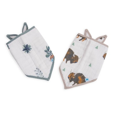 Little Unicorn Bison Bandana Bib - Blue/Rose