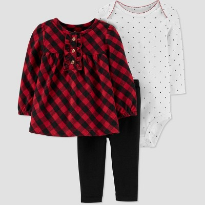 Baby Girls' 3PC Bodysuit, Check Tunic Top & Bottom Set - Just One You® made by carter's Red/Black/White 6M