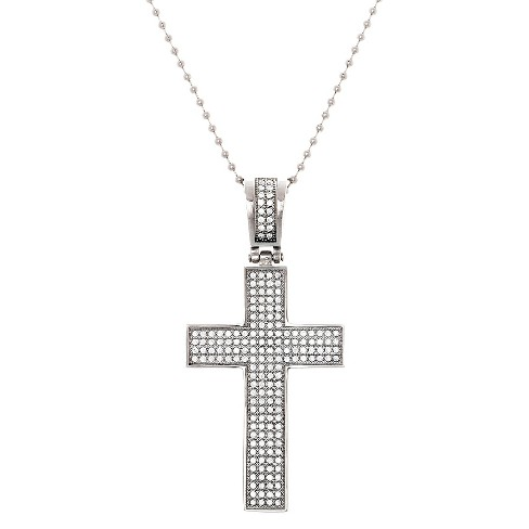 Men's Structure Stainless Steel Cross Pendant with Stones - Silver - image 1 of 1