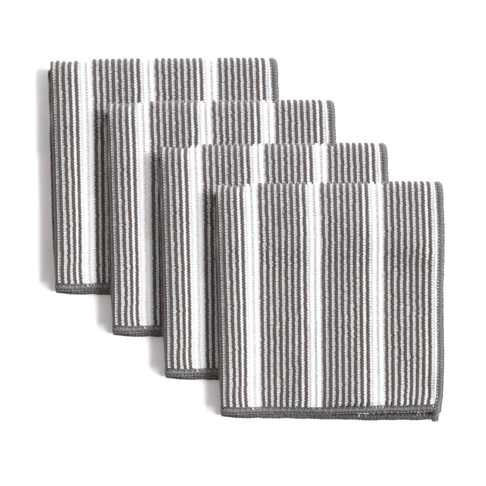 """Image of """"8pk 12""""""""X12"""""""" Rainbow Stripe Dish Cloths Gray - Town & Country Living"""""""