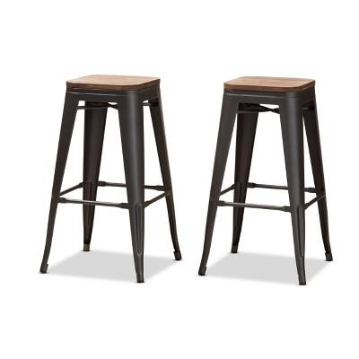 Set of 2 Henri Tolix Inspired Finished Steel Stackable Barstools with Backrests - Baxton Studio