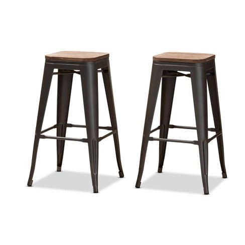 Admirable Set Of 2 Henri Tolix Inspired Finished Steel Stackable Bar Stools Brown Gray Baxtonstudio Ibusinesslaw Wood Chair Design Ideas Ibusinesslaworg