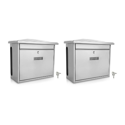 SereneLife SLMAB08 Home Indoor Outdoor Galvanized Steel Metal Wall Mount Secure Locking Mailbox Magazine Newspaper Holder with Keys, Silver (2 Pack)
