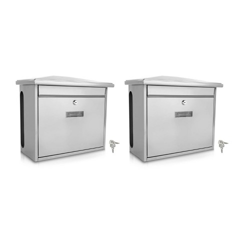 SereneLife SLMAB08 Home Indoor Outdoor Galvanized Steel Metal Wall Mount Secure Locking Mailbox Magazine Newspaper Holder with Keys, Silver (2 Pack) - image 1 of 4
