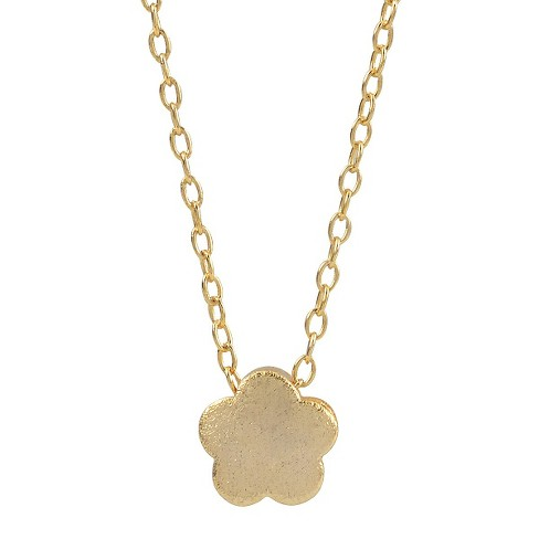 "Women's Journee Collection Flower Pendant Necklace in Sterling Silver - Gold (16"") - image 1 of 2"