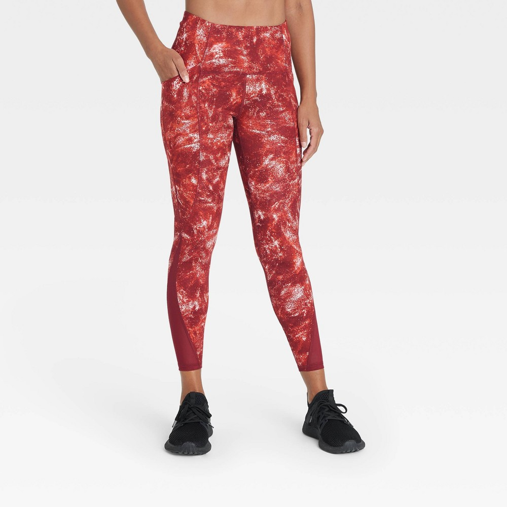 Women 39 S Sculpted Linear Galaxy Print High Waisted 7 8 Leggings 25 34 All In Motion 8482 Red L