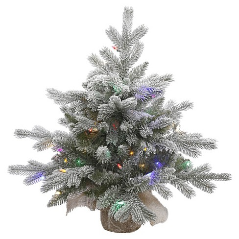 2ft Pre-Lit White Frosted Artificial Christmas Tree With Burlap Base And  MultiColored LED Lights : Target - 2ft Pre-Lit White Frosted Artificial Christmas Tree With Burlap Base