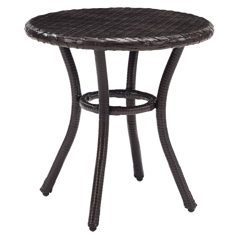 Crosley Palm Harbor Outdoor Wicker Round Side Table In Brown