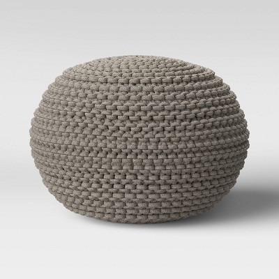 Cloverly Chunky Knit Pouf Gray - Threshold™