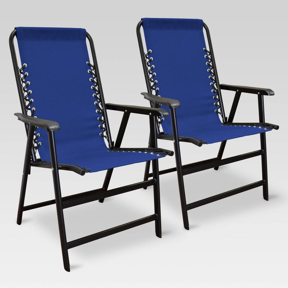 Image of 2pk Outdoor Patio Suspension Folding Chair Blue - Caravan