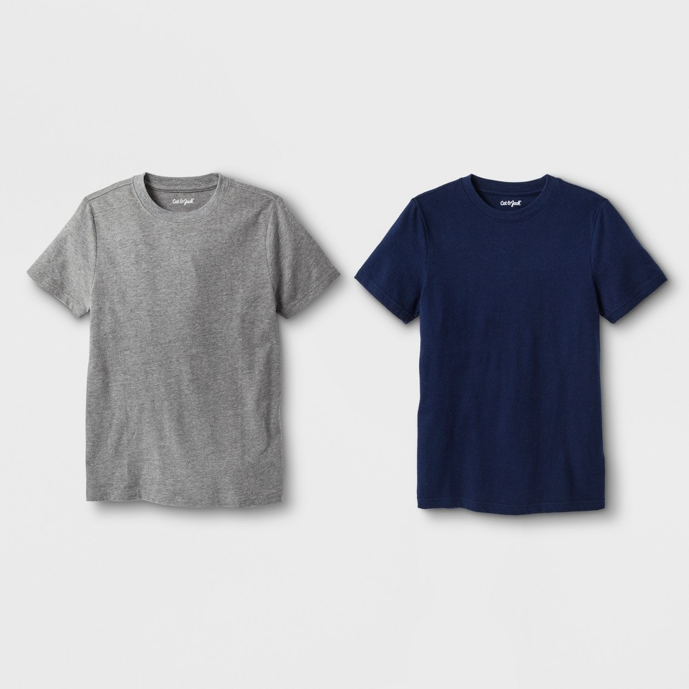 Boys' 2pk Short Sleeve T-Shirt - Cat & Jack Navy/Gray S, Blue