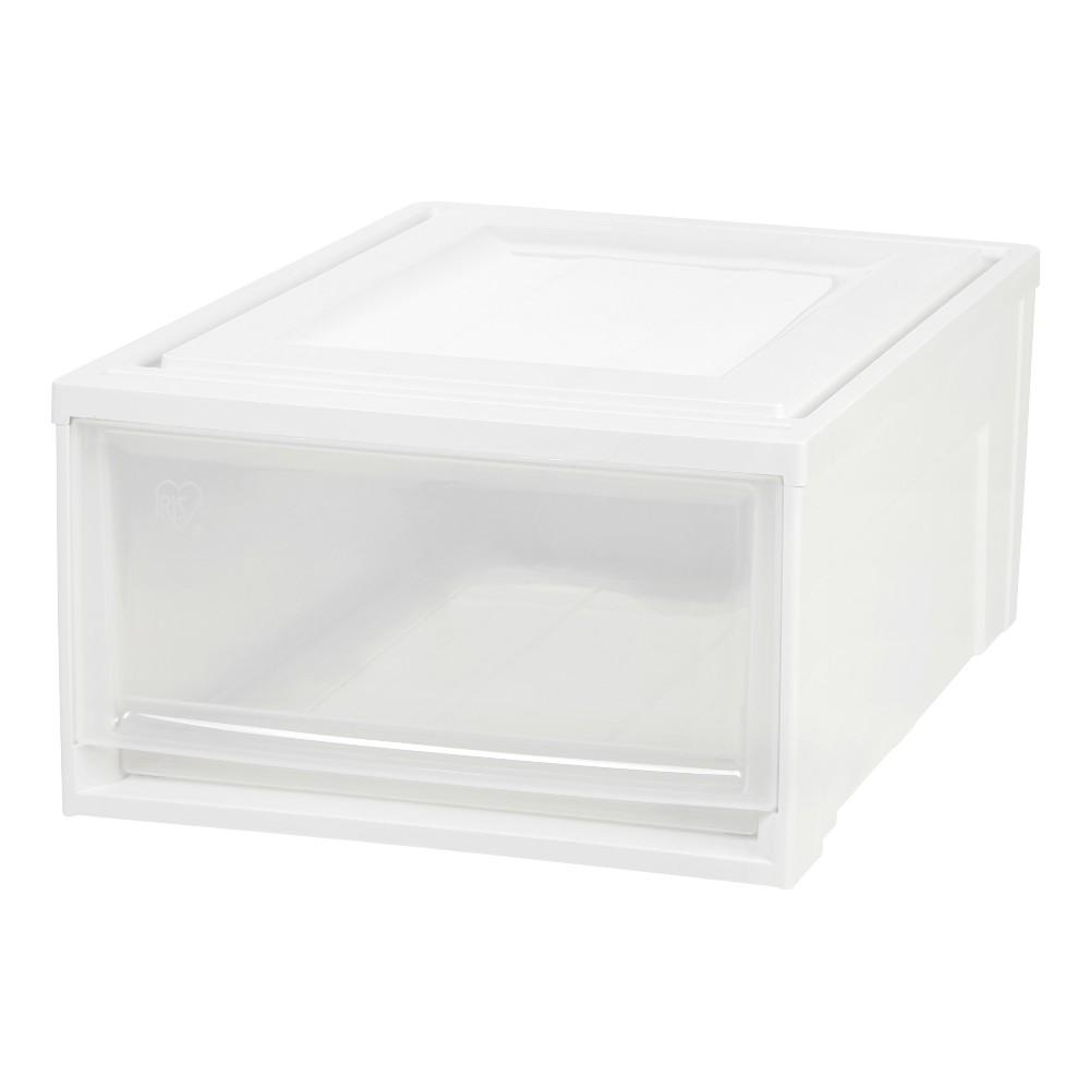 Iris Medium Stacking Plastic Storage Drawer, White