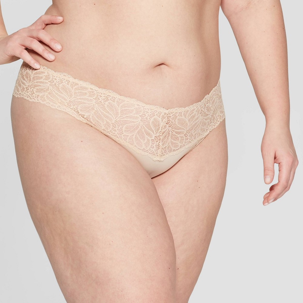 f4545cb4edc Womens Plus Size Micro Thong with Lace Waistband Auden Soft Beige 3X