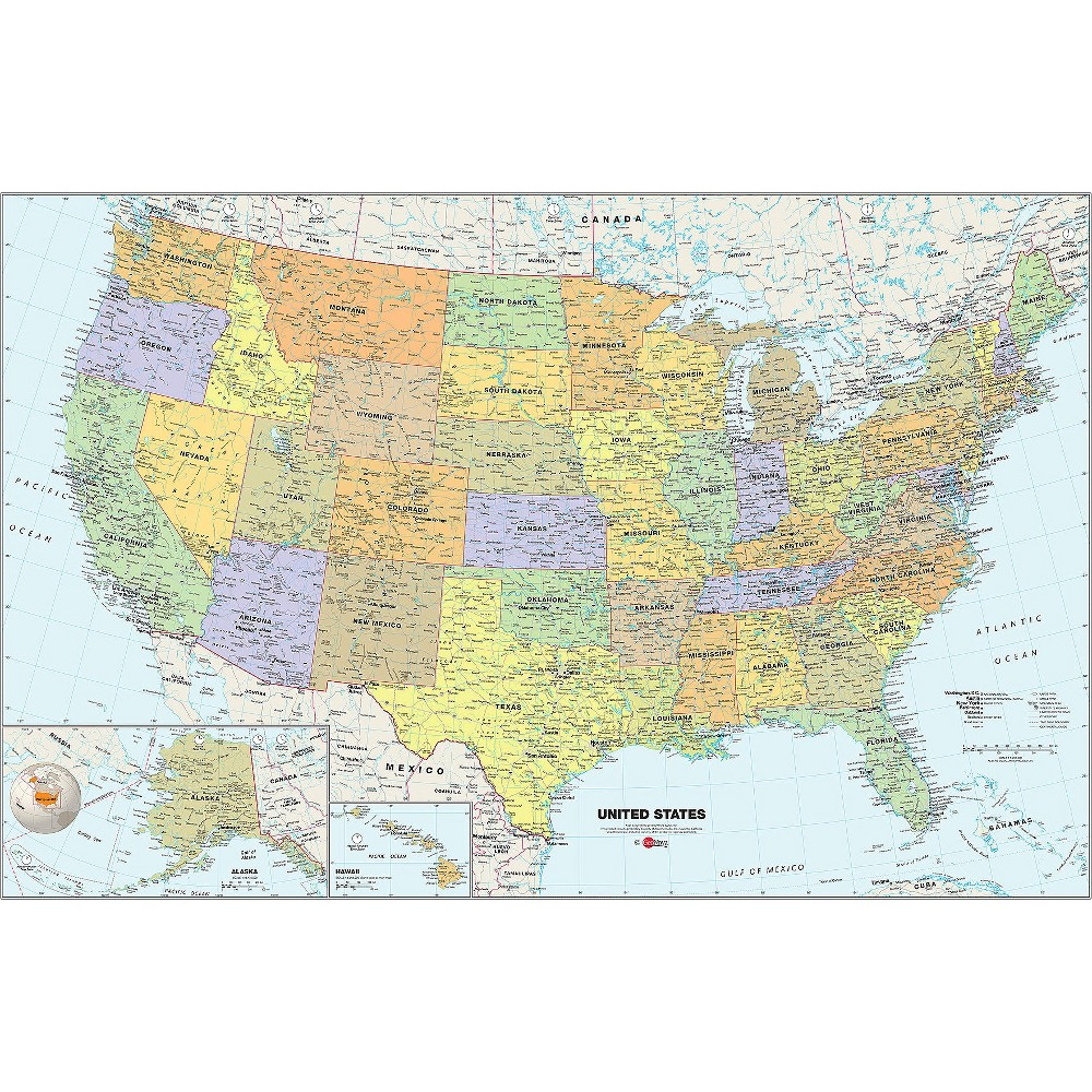 Image of WallPops! Geo Novo US Map - Blue, Multi-Colored