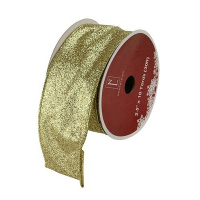 """Northlight Shimmering Metallic Gold Ribbed Wired Craft Ribbon 2.5"""" x 10 Yards"""