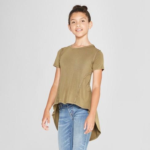 Girls' Hi Lo Short Sleeve T-Shirt - art class™ Olive - image 1 of 3