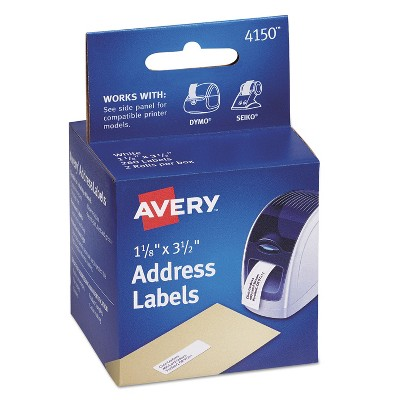 Avery Thermal Printer Address Labels 1 1/8 x 3 1/2 White 130/Roll 2 Rolls 4150
