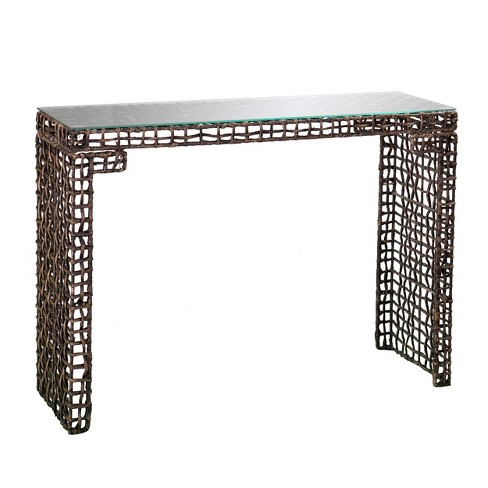 Lani Woven Console Table - Blackwashed Brown - Aiden Lane - image 1 of 4