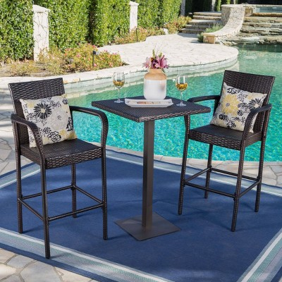 Lala 3pc Square Wicker Patio Bar Set - Brown - Christopher Knight Home