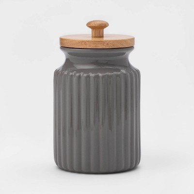 30oz Stoneware Ribbed Food Storage Canister with Wood Lid Gray - Threshold™