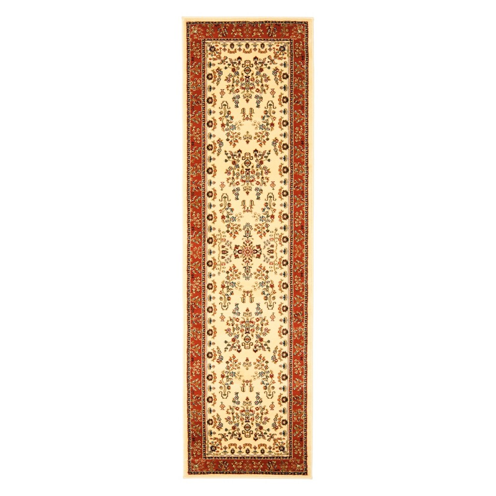 2'3X22' Floral Loomed Runner Ivory/Rust (Ivory/Red) - Safavieh