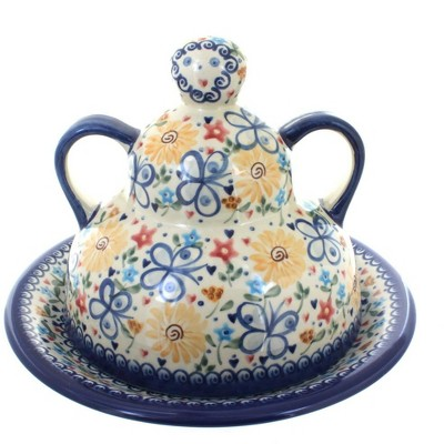 Blue Rose Polish Pottery Butterfly Cheese Lady