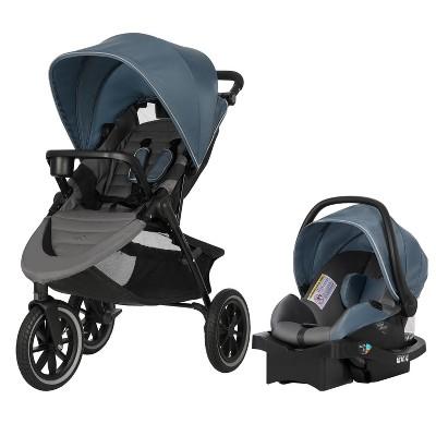 Evenflo Folio3 Stroll & Jog Travel System w/ LiteMax 35 Infant Car Seat, Skyline
