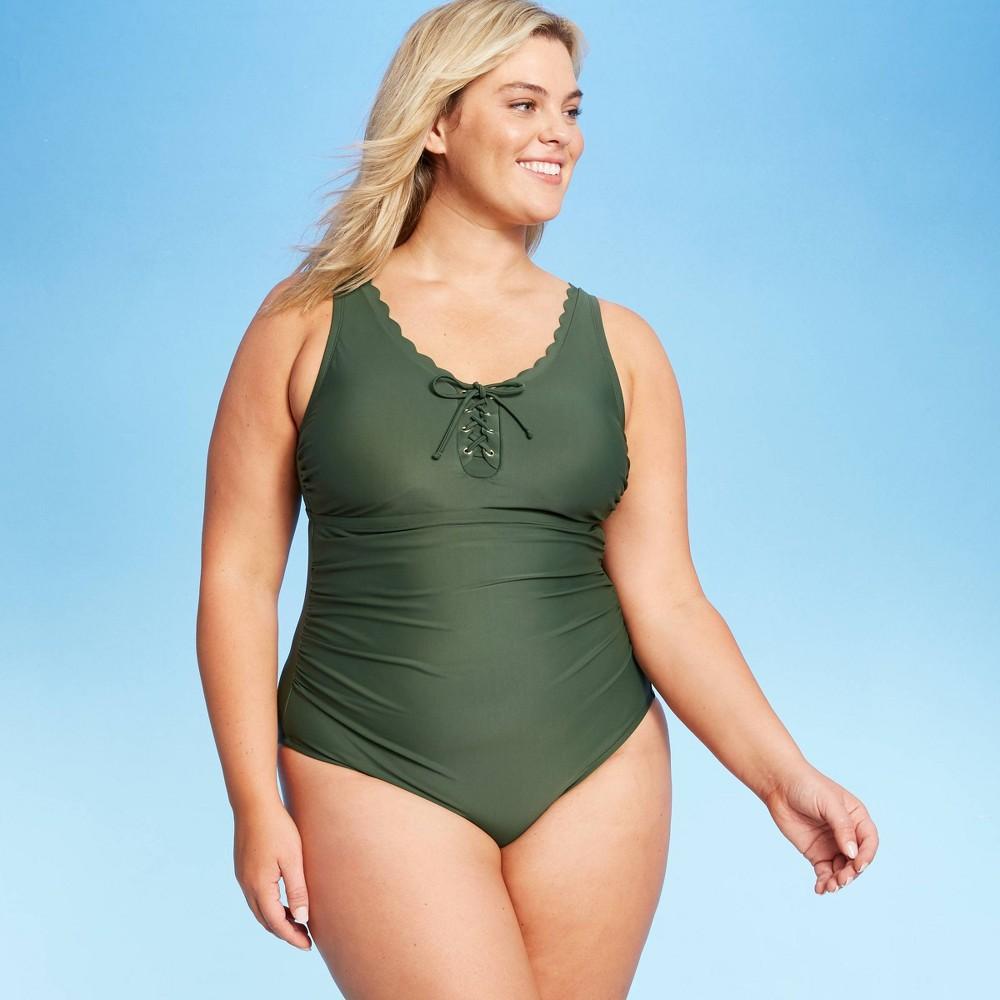 Women 39 S Plus Size Grommet Scallop Classic One Piece Swimsuit Kona Sol 8482 Dark Green 16w