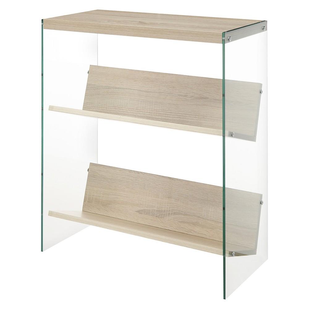 """Image of """"27.75"""""""" Soho Bookcase Weathered White/Glass - Johar Furniture"""""""