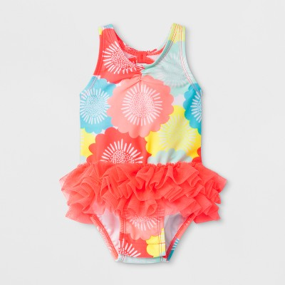 Baby Girls' Ruffle Floral One Piece Swimsuit - Cat & Jack™ Pink 6-9M