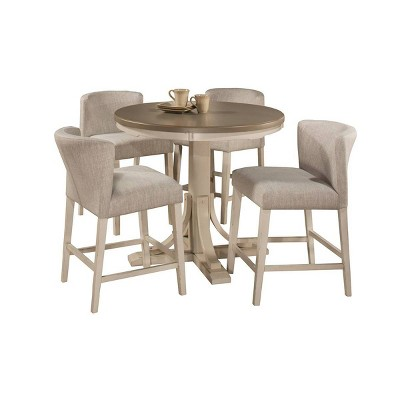 5pc Clarion Round Counter Height Dining Set with Wing Arm Stools Gray Fog Fabric - Hillsdale Furniture
