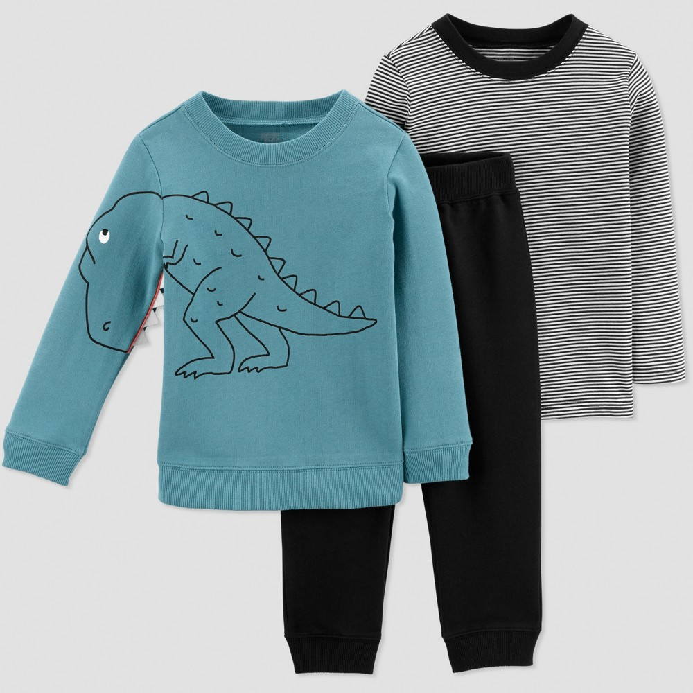 Toddler Boys' 3pc French Terry Stripe Dino Set - Just One You made by carter's Blue/Black 3T
