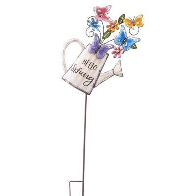 Lakeside Hello Spring Watering Can Garden Stake - Seasonal Lawn Accent