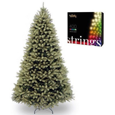 National Tree Company Downswept Douglas 7 Ft Unlit Christmas Tree Bundle with Twinkly WiFi Controlled 400 LED RGB Color & White 105 Ft String Lights