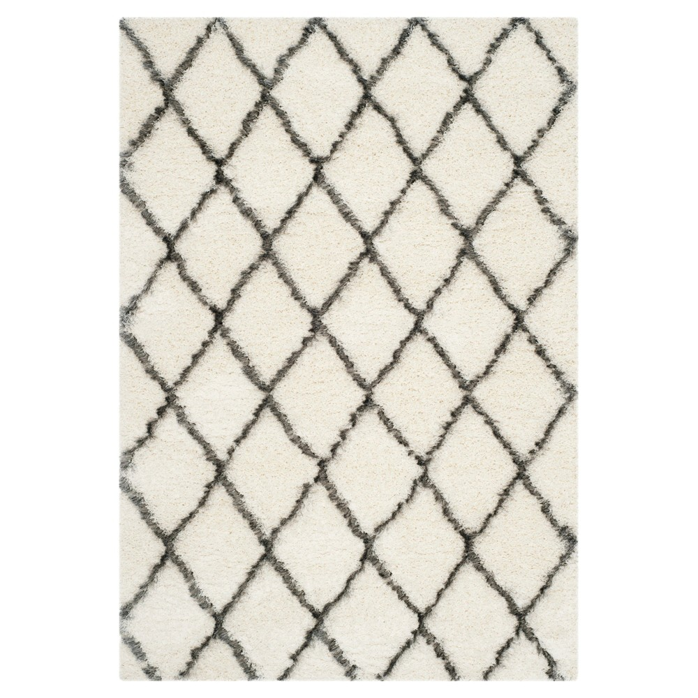 Ivory/Gray Abstract Loomed Area Rug - (5'1